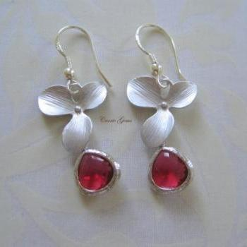 Silver Orchid with Garnet Red Earrings, Sterling Silver Hook, Bridesmaid Gifts